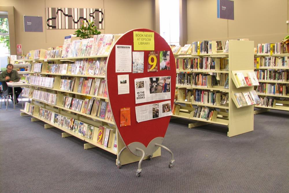EGG SCREEN positioned to attract attention, at Epsom Library.
