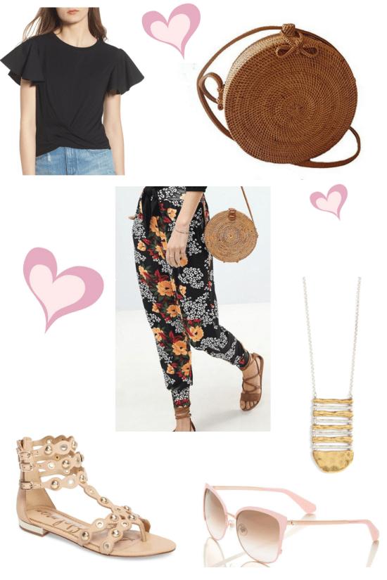 floral pants and rattan bag