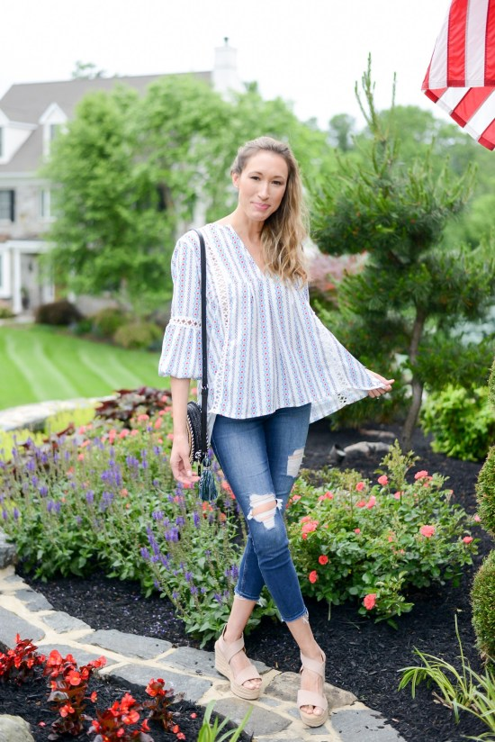 Summer Fashion Amazon Finds Under $21 (See My Outfits!) boho top and wedges