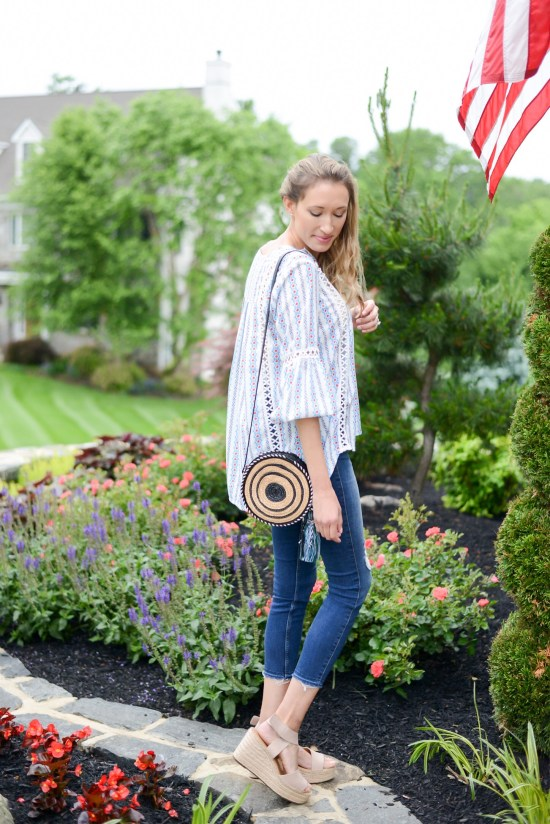 Summer Fashion Amazon Finds Under $21 (See My Outfits!)- circle bag, boho top, wedges, summer outfit