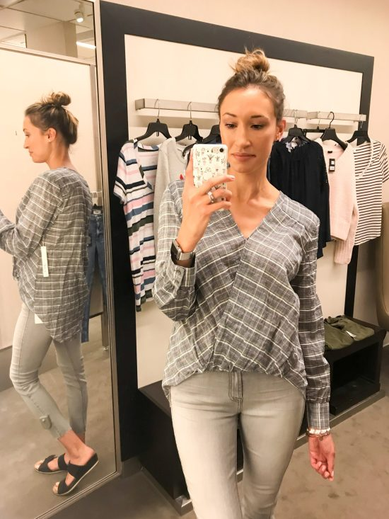 What I Bought from the 2018 Nordstrom Anniversary Sale- plaid wrap top