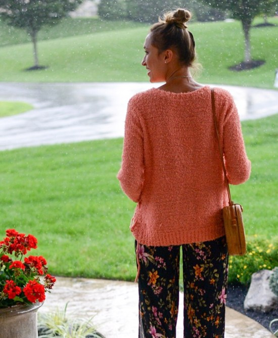 3 Ways to Wear Summer Maxi Dresses in the Fall- floral jumpsuit with pullover sweater and rattan bag
