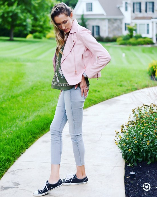 Instagram Roundup- Summer 2018- summer-to-fall outfit with blush pink leather moto jacket