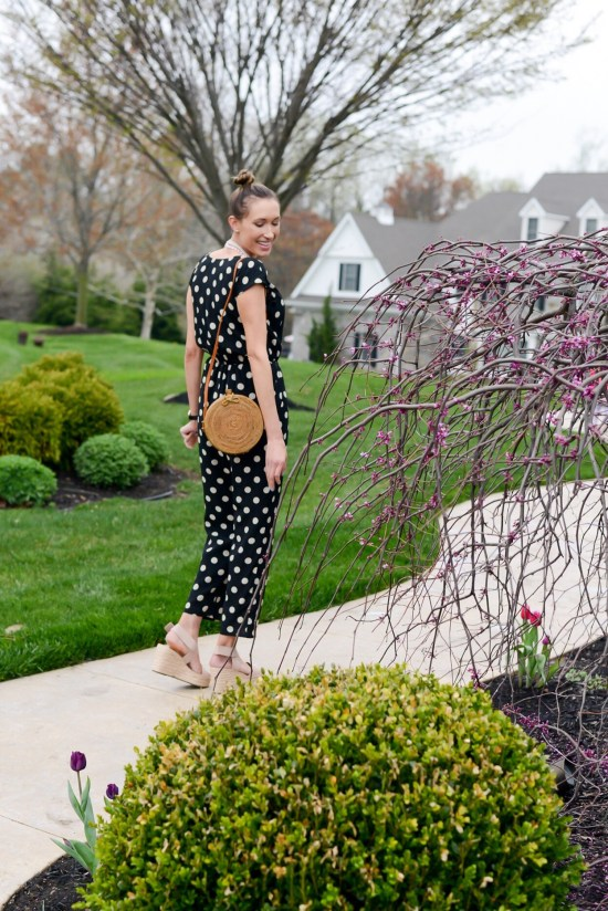Thrifty Thursday (Vol. 3) Polka dot jumpsuit and rattan bag
