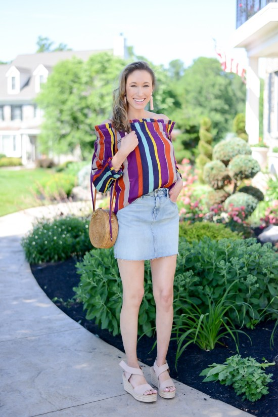 Thrifty Thursday (Vol. 3) striped off the shoulder top, denim mini skirt