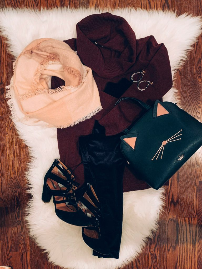 From Flatlay to Real Way- holiday outfit idea with velvet leggings, casual chic outfit, party outfit, classy