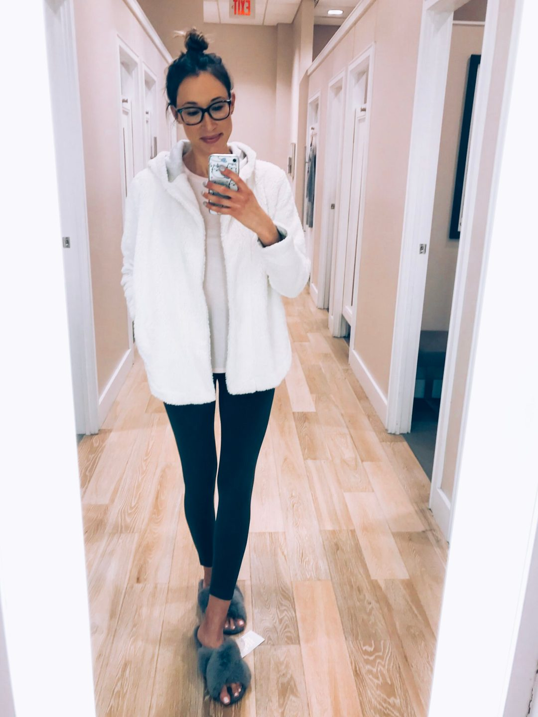 LOFT haul and try-on sherpa hooded cardigan and soft leggings