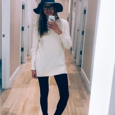 Loft try-on and haul winter 2018- tunic sweater, fedora, leggings