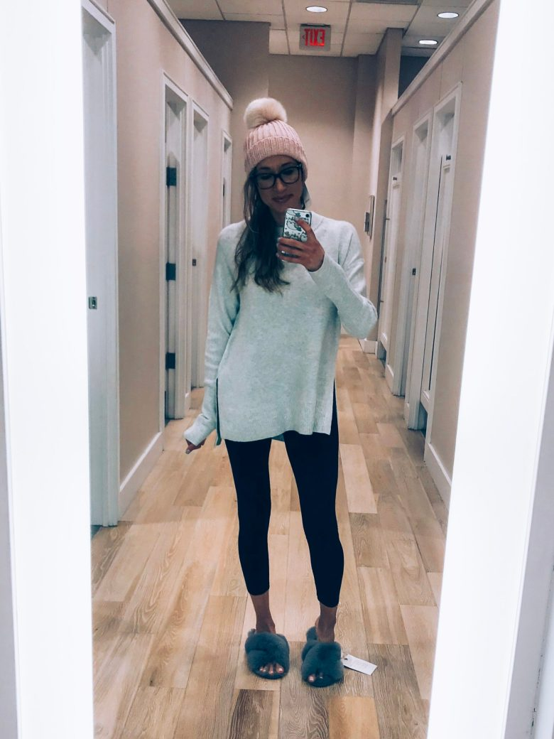 Loft try-on and winter haul 2018- cozy Lou and Grey sweater, leggings, pom pom hat