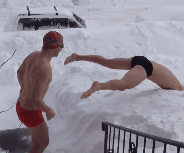 Two Guys Go Snow Swimming on a Cold Winter Day (VIDEO