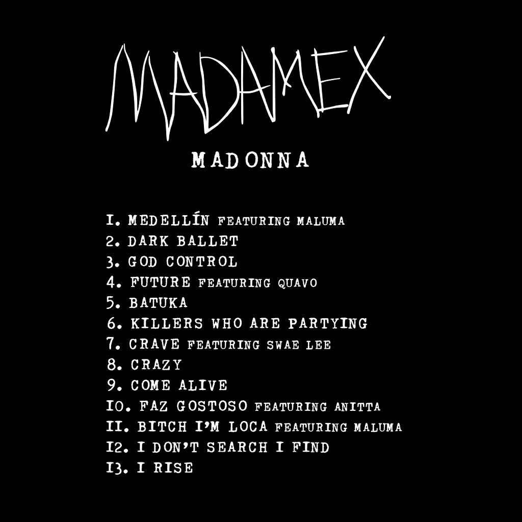 The track list for Madonna's upcoming album, Madame X (via Instagram)
