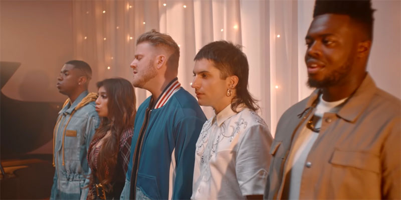 "Pentatonix covers ""Waving Through a Window"" (screen capture)"