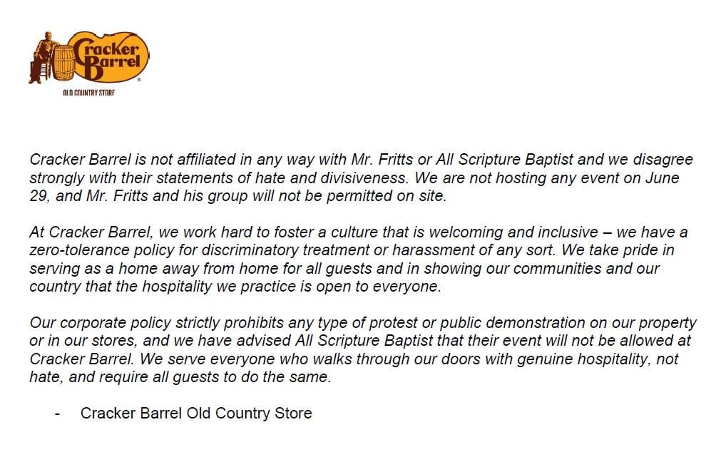 Statement from Cracker Barrel (via Twitter)