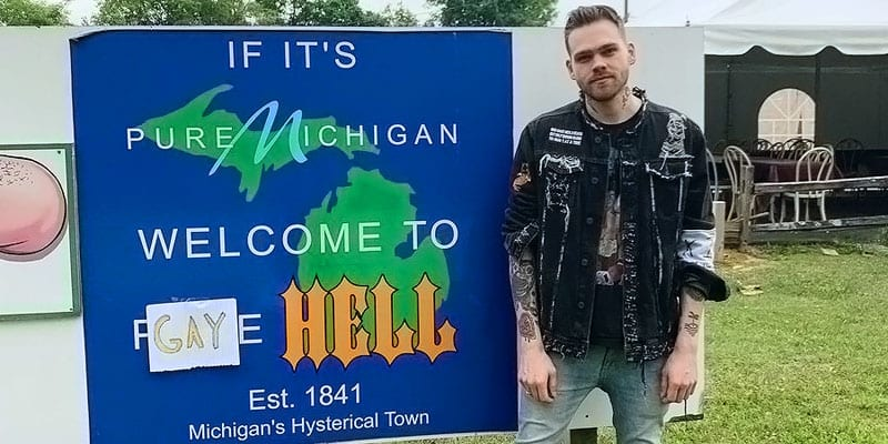 YouTuber Elijah Daniel bought a Michigan town and named it 'Gay Hell' (image via Twitter)