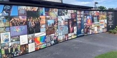 The temporary memorial at Pulse Nightclub (screen capture)