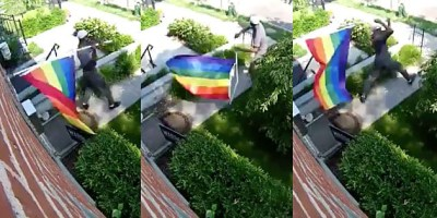 Security camera footage caught homophobic vandal ripping down Pride flag