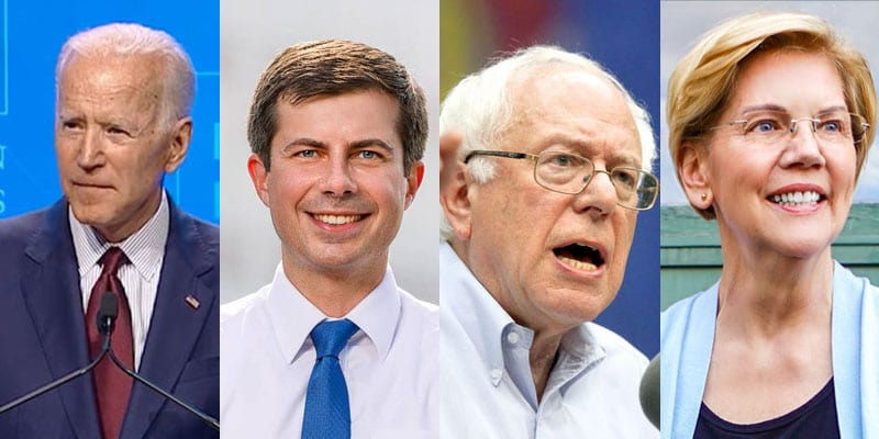Photo of former Vice President Joe Biden, Mayor Pete Buttigieg, Sen. Bernie Sanders and Sen. Elizabeth Warren