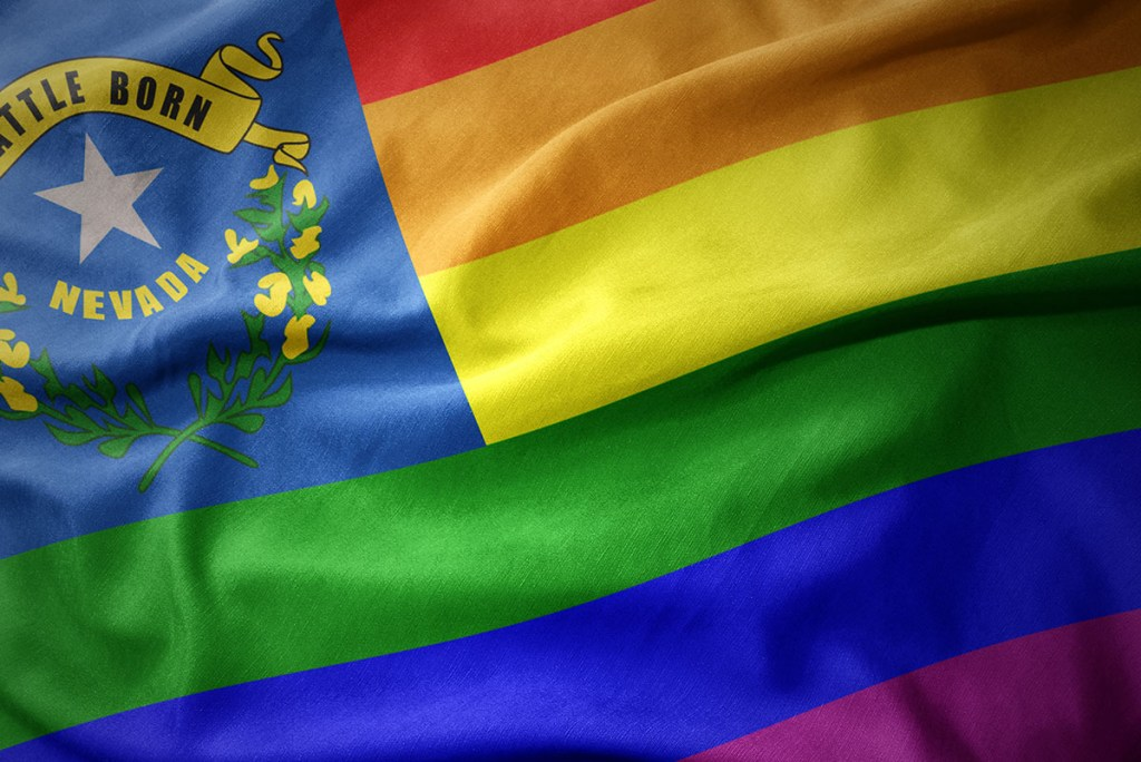 A hybrid version of the Nevada state flag with a Pride flag