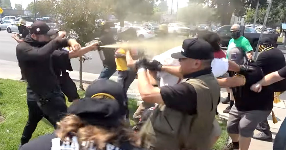 """Brawling and bear spray at the 3rd """"straight pride"""" rally in Modesto, California"""