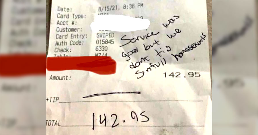 Some homophobic restaurant guests liked their service but stiffed their waiter because 'sinful homosexual'