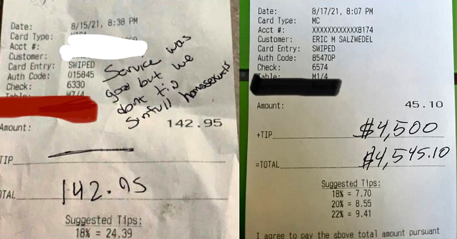A waiter who was stiffed out of his tip for being perceived as a 'sinful homosexual' was surprised when hundreds of strangers stepped up with a $4,500 tip