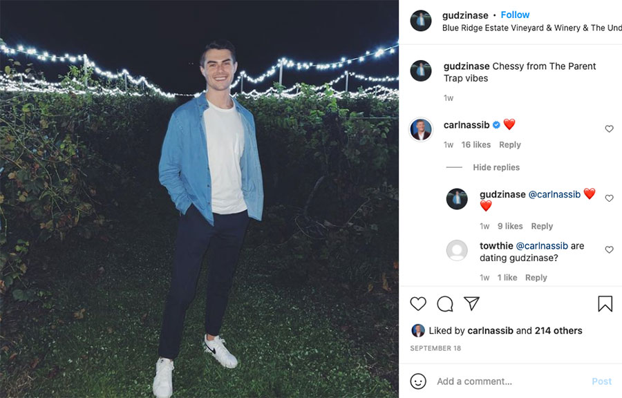 Out NFL player Carl Nassib responded to one post on Erik Gudzinas' Instagram post with a heart emoji