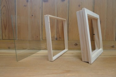 Here are the three layers of the frame before I drilled holes into the middle section.