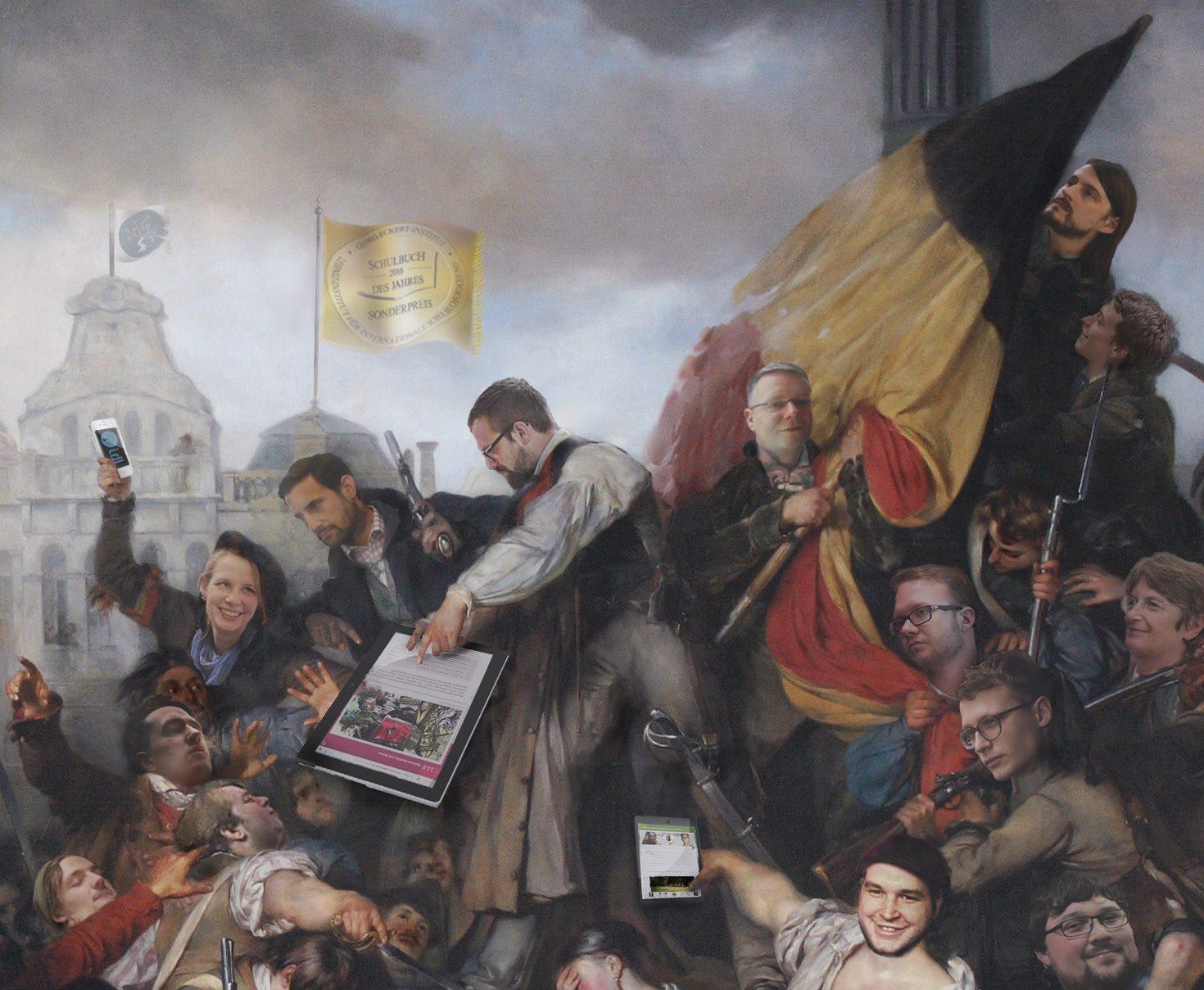 Die Köpfe des Teams vom Institut für digitales Lernen bearbeitet in ein Gemälde aus der Zeit der französischen Revolution