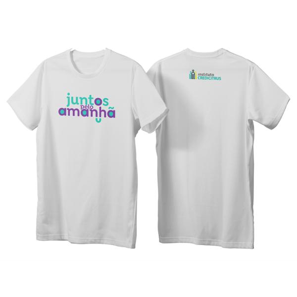 camiseta juntos pelo amanhã unissex na cor branca
