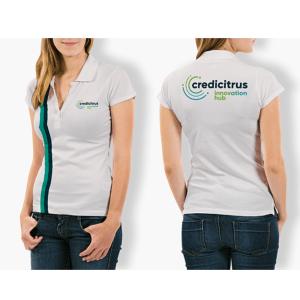 camiseta polo do instituto credicitrus estilo baby look feminina, na cor branca