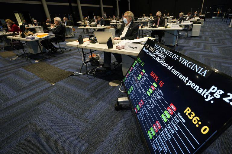 A votação da abolição da pena de morte no Senado estadual da Virgínia, em Richmond, nesta segunda-feira.