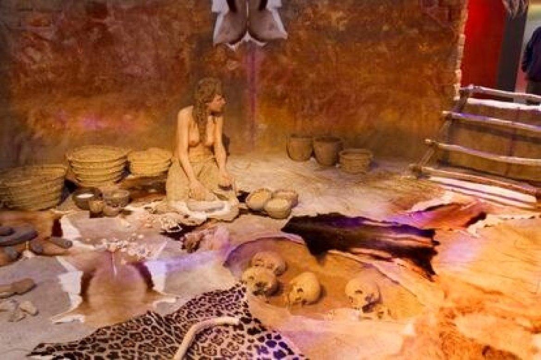 Recriação de una casa pré-histórica da exposição 'Neolítico. De nômades a sedentários'.