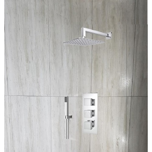 Milan Triple Thermostatic Valve with Square Shower Head and Handset