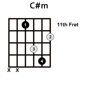 Simple 5 ways to play the C#M guitar chord
