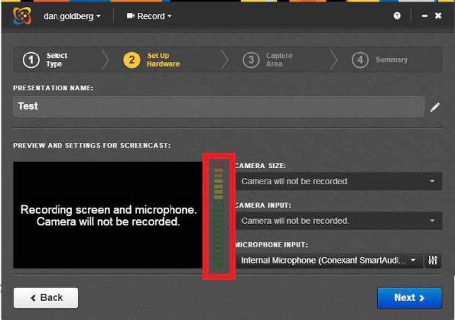 screenshot for setting up mic and camera for mediasite desktop recorder with levels callout