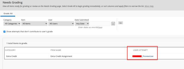 screenshot of grade center user attempts