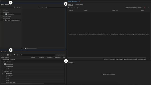 Screenshot of four panels of Adobe Media Encoder user interface.
