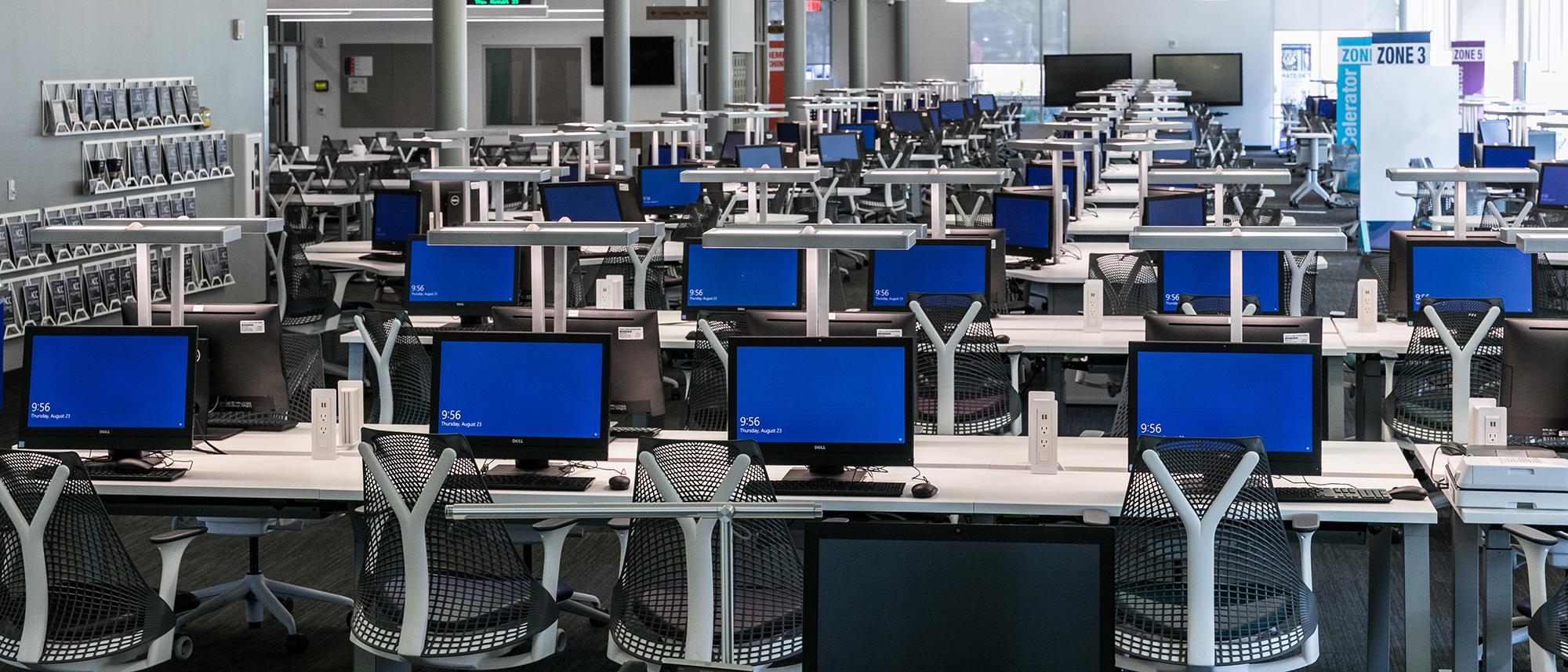 Rows of computer monitors