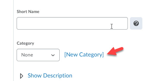 brightspace grade item edit add category