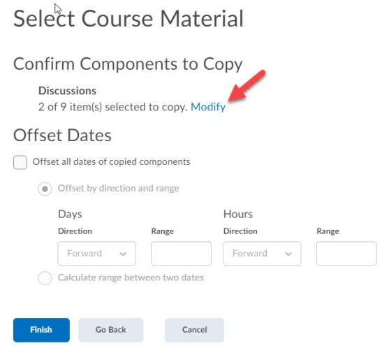 brightspace confirm component copy