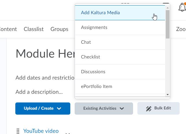 kaltura insert existing activities link