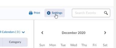 brightspace calendar settings
