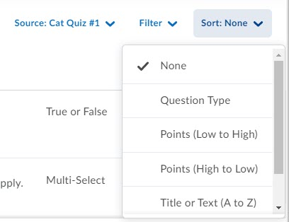 brightspace question library browse sort