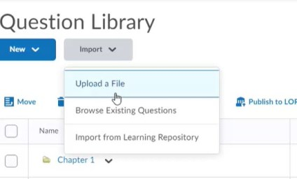 brightspace question library import button menu