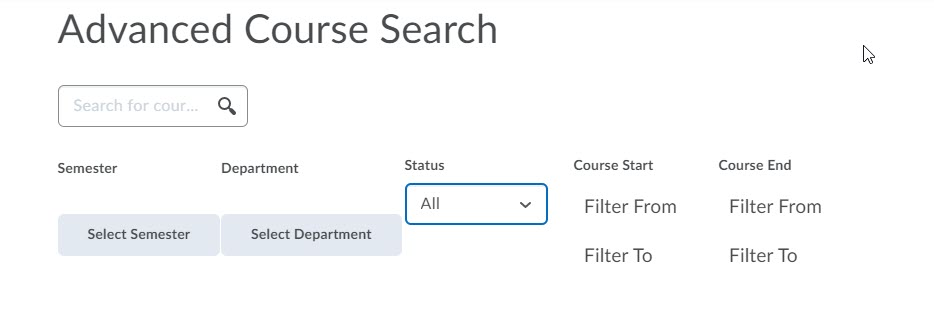 brightspace all courses advanced search