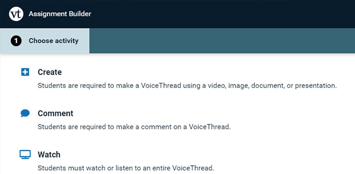 voicethread 3 assignment options