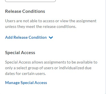 brightspace assignment release conditions special access