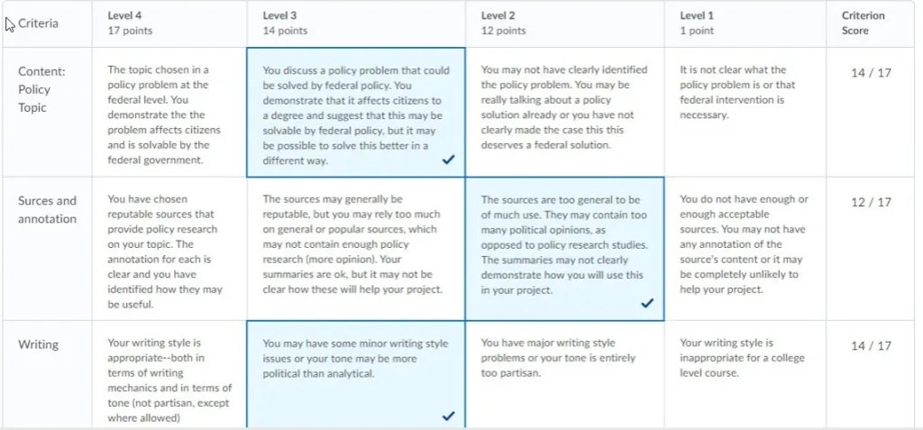 brightspace graded rubric example