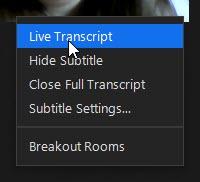 zoom live transcript menu options