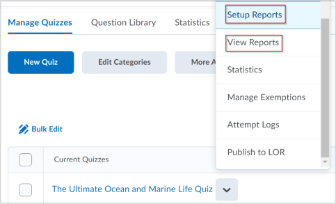 quiz reports in context menu